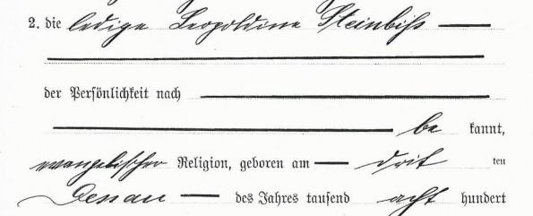 Lepoldine Steinbiß-Eheurkunde Monat