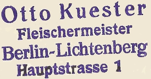 Otto Kuester Stempel Fleischerei